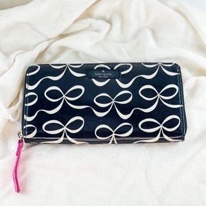 Kate Spade Elegant Bow Zip Close Wallet
